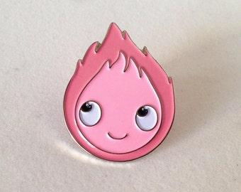 Pink Calcifer enamel pin from Howl's moving castle - Ghibli, Miyazaki, kawaii, pins, brooch, cute, geek, Hauru
