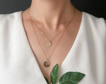 Christmas Gifts For Women • Delicate Layered Necklace • Personalized Initial Necklace • Personalized Necklace •  Rose Gold Disc Necklace