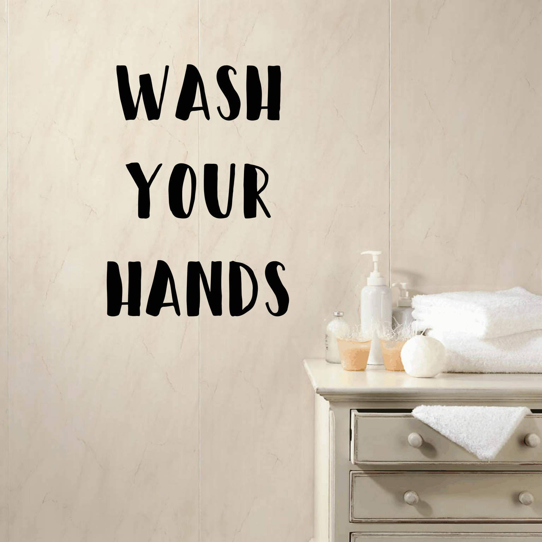 Wash Your Hands Decal, Bathroom Wall Decal, Typography Sticker, Wall  Sticker, Bathroom
