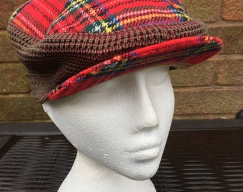 Vintage Scottish Red Tartan Flat Cap - Made by Stewarts of Scotland - Acrylic / Wool
