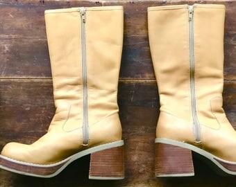 Vintage Candie's Leather Platform Boots Size: 7.5