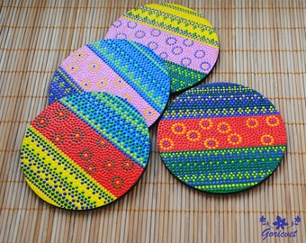 Wood coasters set of 4 cup pads Hand painted decor Handcrafted Gift ideas for women gifts for mom Drinks coasters Decorative kitchen decor