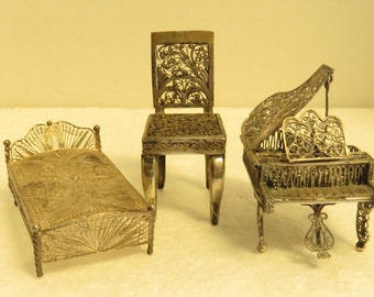 3 Vintage Miniature Doll House Hand Made Sterling Silver Filigree Piano, Chair & Bed.