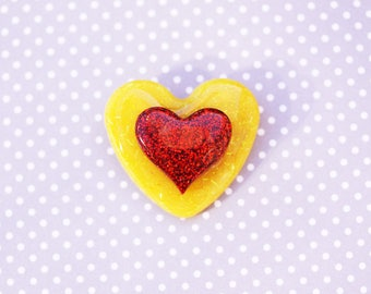 Yellow and Red Heart Brooch