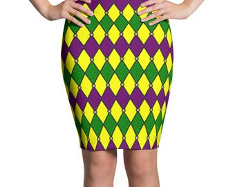 Jester Skirt, Mardi Gras Harlequin Costumes, Stretchy Pencil Skirt for Women, Purple and Green, Green and Gold