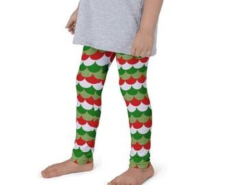 Girls Christmas Mermaid Leggings, Kids Holiday Yoga Pants, Red and Green Dragon Scales, Mermaid Scales, Fish Scales