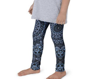 Girls Dark Blue Leggings, Kids Yoga Pants, Children's Leggings Printed Blue