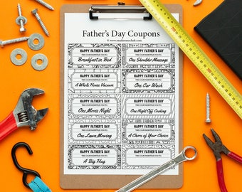 Father's Day Printable Coupons – 10 Printable Coupons to color and give to Dad | Printable PDF Father's Day gift coupon template