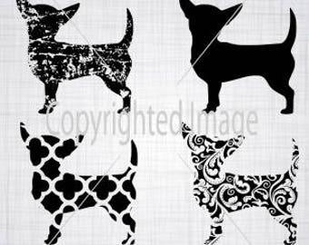 Chihuahua SVG; Distressed Svg; Distressed Chihuahua; Chihuahua Cut Files; Silhouette; Cameo; Silhouette; Cricut;