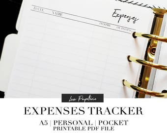 Expenses planner inserts, Printable Planner, Expenses tracker, Budget planner inserts, A5 inserts, Personal Inserts, Pocket Inserts, Filofax