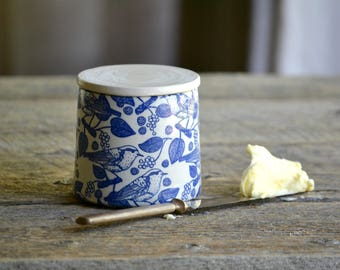 Pottery butter crock French butter dish with blue birds