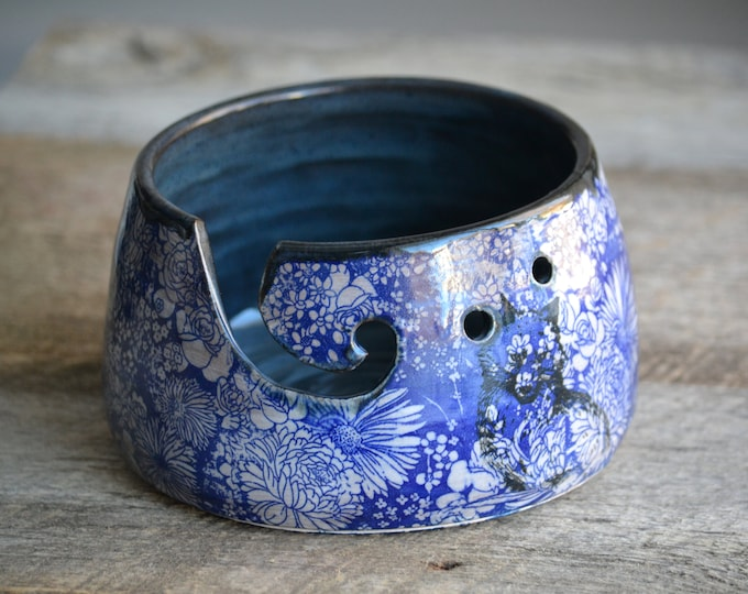 Blue flowers and Fox Pottery Yarn Bowl ceramic knitting bowl