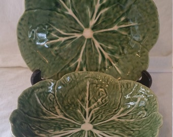 Bordallo pinheiro cabbage leaf set/cabbage leaf bowl and plate set/bordallo pinheiro green/bordallo pinheiro