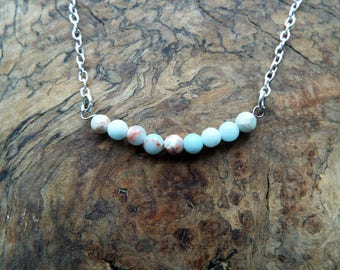 Blue glass bead pendant necklace - silver chain