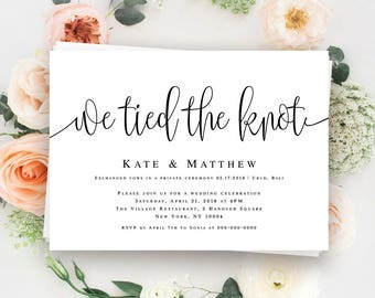 We Tied The Knot Invitation Elopement Template Announcement Post Wedding Reception Elope Card
