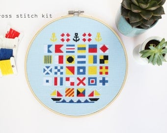 Sailors Alphabet - Modern DIY Cross stitch kit - Beginners cross stitch kit