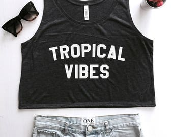 Tropical vibes cropped tank top summer