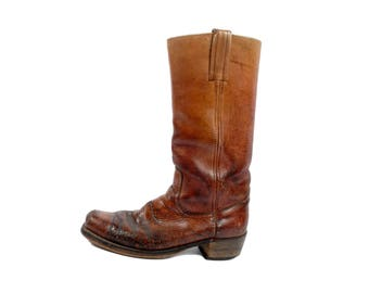 Vintage Frye Boots - Frye Campus Boots - 60s Frye Boots - Frye Brown Leather Boots - Frye Black Label - Frye Motorcycle Boots - M 9.5 W 10.5