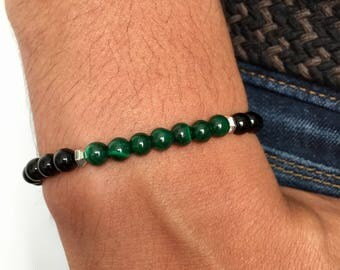 Minimalist men's bracelet malachite 6mm black agate beads / fancy gemstone bracelet men malachite natural black agate / lesptitskdo