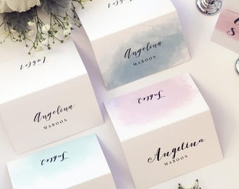 Adalynn Pastel Shades Place Cards, Watercolor Place Cards, Printable Place Cards or Printed Name Cards, Calligraphy Place cards