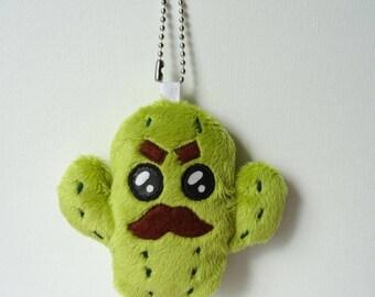 Porte-clés kawaii cactus en peluche vert mousse strong man - bijou de sac - charm
