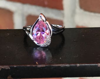 Sterling Silver Pink Tourmaline & Diamond Ring