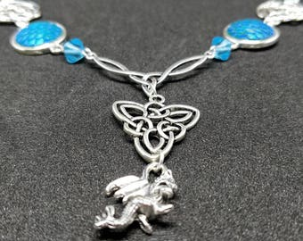 Water dragon scales celtic knot necklace charms
