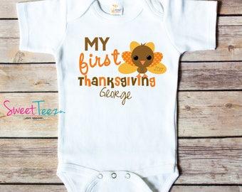 My First Thanksgiving Shirt Turkey Baby Bodysuit Personalized My 1st Thanksgiving Boy Girl