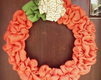 Fall Pumpkin Burlap Rustic Halloween Orange Wreath