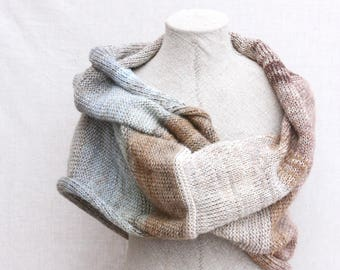 Winter wedding cape / Autumn silk scarf / Infinity shawl wrap / Bulky mohair shawl - Winter woods 1