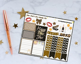 New Year's Eve Weekly Kit Planner Stickers, New Year Stickers, Weekly Kit Stickers, Celebration Stickers, Vinyl Stickers