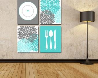 Dining Room Art - Printable Kitchen Art - Kitchen Decor - Kitchen Prints - Silverware Art - Dahlia Art - Floral Kitchen - Housewarming Gift