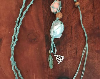 Rhodonite & Angelite Macrame necklace with charms/boho necklace/crystal necklace