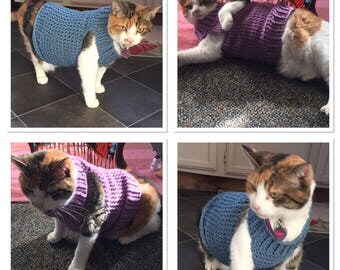 Cat Clothes, Cat Sweater, Crochet Cat Sweater, Cat Costume, Sphynx Cat Sweater, Sweater for Cat, Clothes for Cat, Halloween Costume, Dress