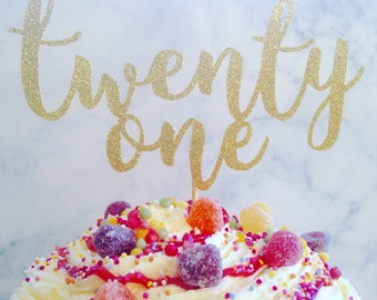 Twenty one glitter cake topper, 21, birthday cake topper, glitter cake tooper, glitter topper, birthday decorations, cake decoration