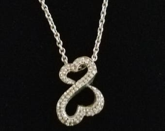CP027 Vintage Sterling Silver Necklace with Infinity Heart Slide