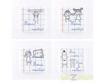 Magnet en bois ''Merci maître'' petite fille / petit garçon / enfants - ''Mon maître? C'est le meilleur!'' - idée cadeau maître