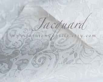 White Jacquard Damask Fabric by the yard