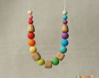 Rainbow Silicone and juniper teething necklace for babies