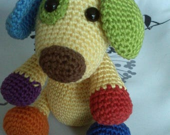 Scrappy multicolored crochet dog