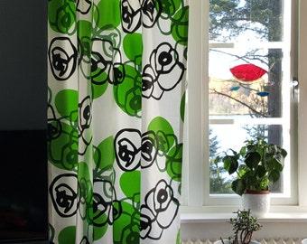 "Vintage curtains -""Fetknopp"" - Frösö Handtryck - Sweden - 218cm / 86"" long(V133)"