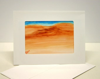 Handmade greeting card painted card abstract art. blank greeting card with envelope,  One of a kind, orange blue teal colors ,handmade card