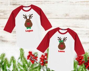 Kids Personalized Christmas TShirt,  Kids Personalized Reindeer TShirt,  Reindeer Shirt, Christmas  Shirt, Kids Personalized Christmas Shirt