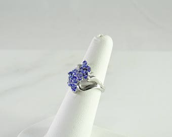 Blue Stone Sterling Dinner Ring Size 6