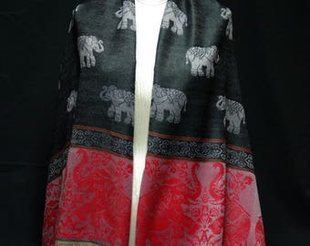 Pashmina Shawl in Charcoal & Scarlet with Elephant Motif