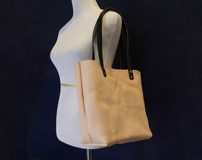Natural Vegetable Tanned Leather Tote Shoulder Bag with Black Bridle Handles Made in USA