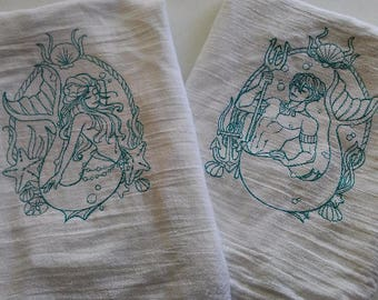 Two Hand Towel Set, One of Each,Mermaid and Merman Kitchen Towels for Coastal Living and the Beach Life