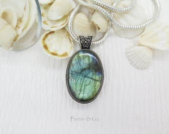 Antique Blue Fire Labradorite Sterling Silver Pendant and Chain
