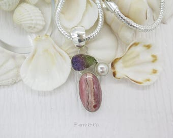 Rhodochrosite purple Drusy and Pearl Sterling Silver Pendant and Chain