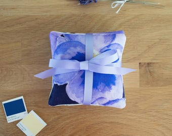 Pansy Lavender Bag Set of two | Cotton Satin Fabric | Tied with Ribbon | with Yorkshire Lavender | Purple, Blue and Yellow